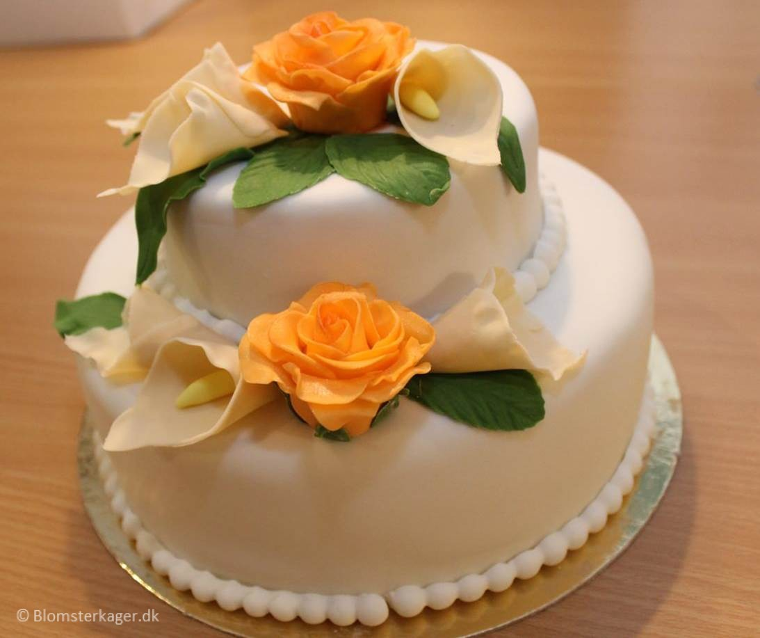 Wedding Cake With Roses And Calla Lilies - Calla Lilly Wedding Cake