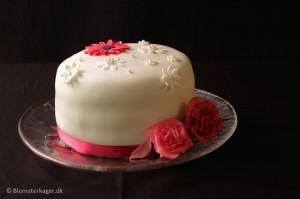 Kage til fotoskolen med roser og margueritter